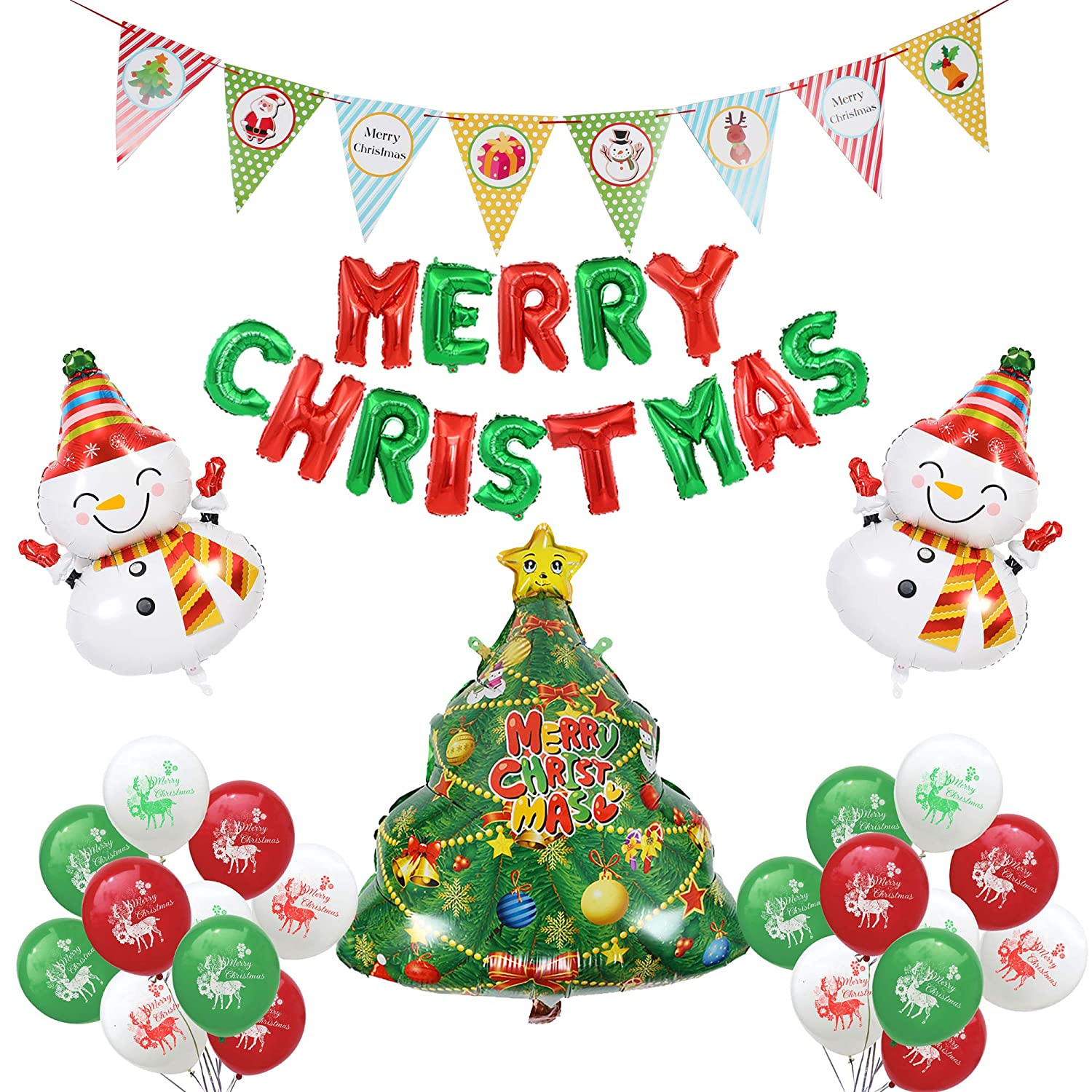 Christmas Party Images Clip Art.Merry Christmas Party Balloon Decoration Set Christmas Letter Balloon Cartoon Banner Snowman Santa