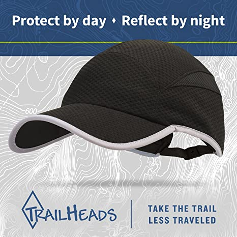 c70eaef7680 Amazon.com   TrailHeads Flashback 360 Reflective Run Cap - Black Silver    Sports   Outdoors