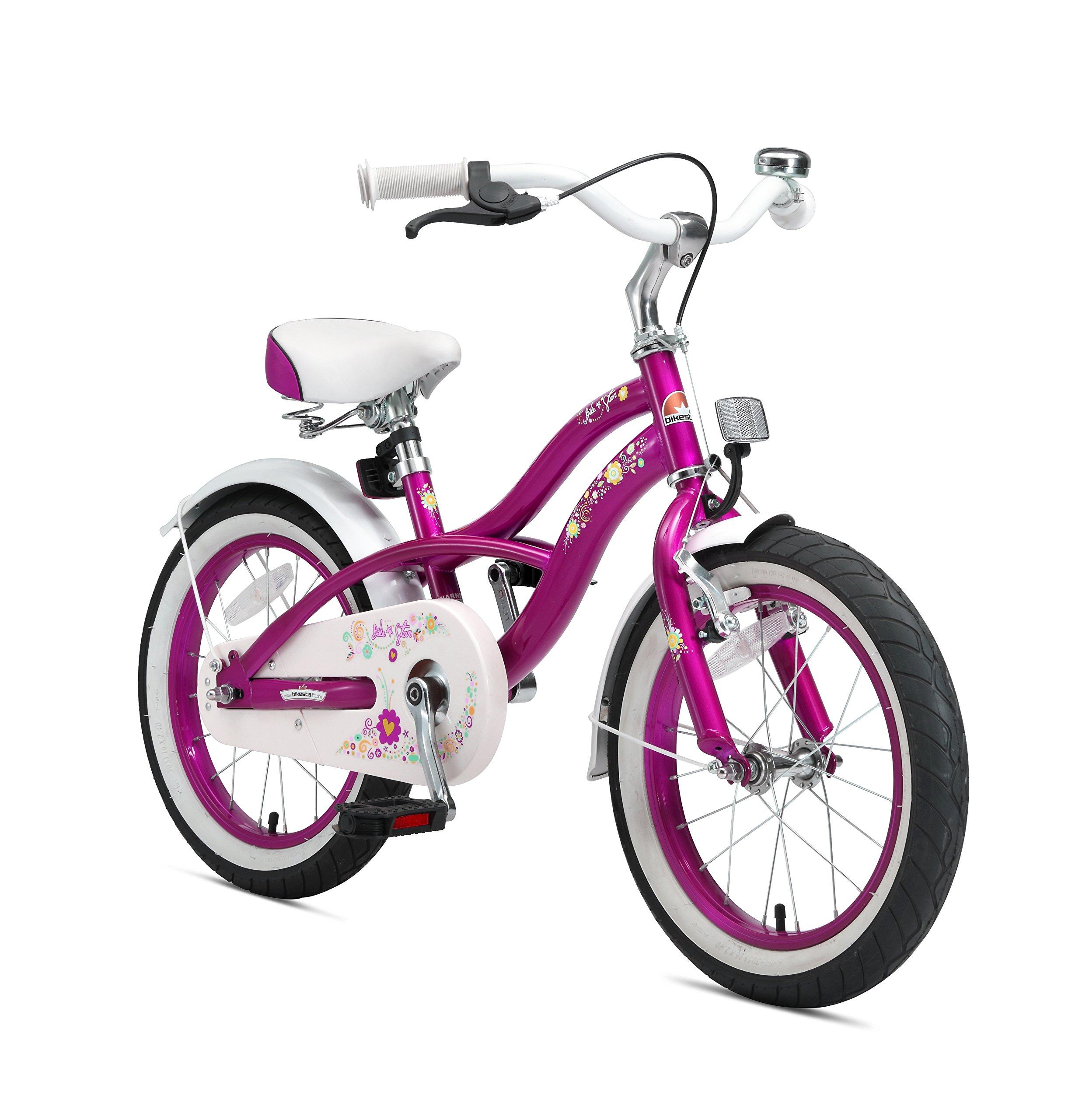 Bikestar   Bicicleta para niños y niñas 16 Pulgadas   Color Rosa   A Partir de