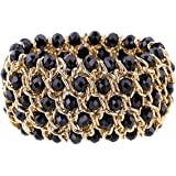 Kaymen Jewelry Luxury Gold Plated Cross Chians and Crystal Stone Knit Exaggerated Bangles Bracelets for Women 5 Colors (Black)