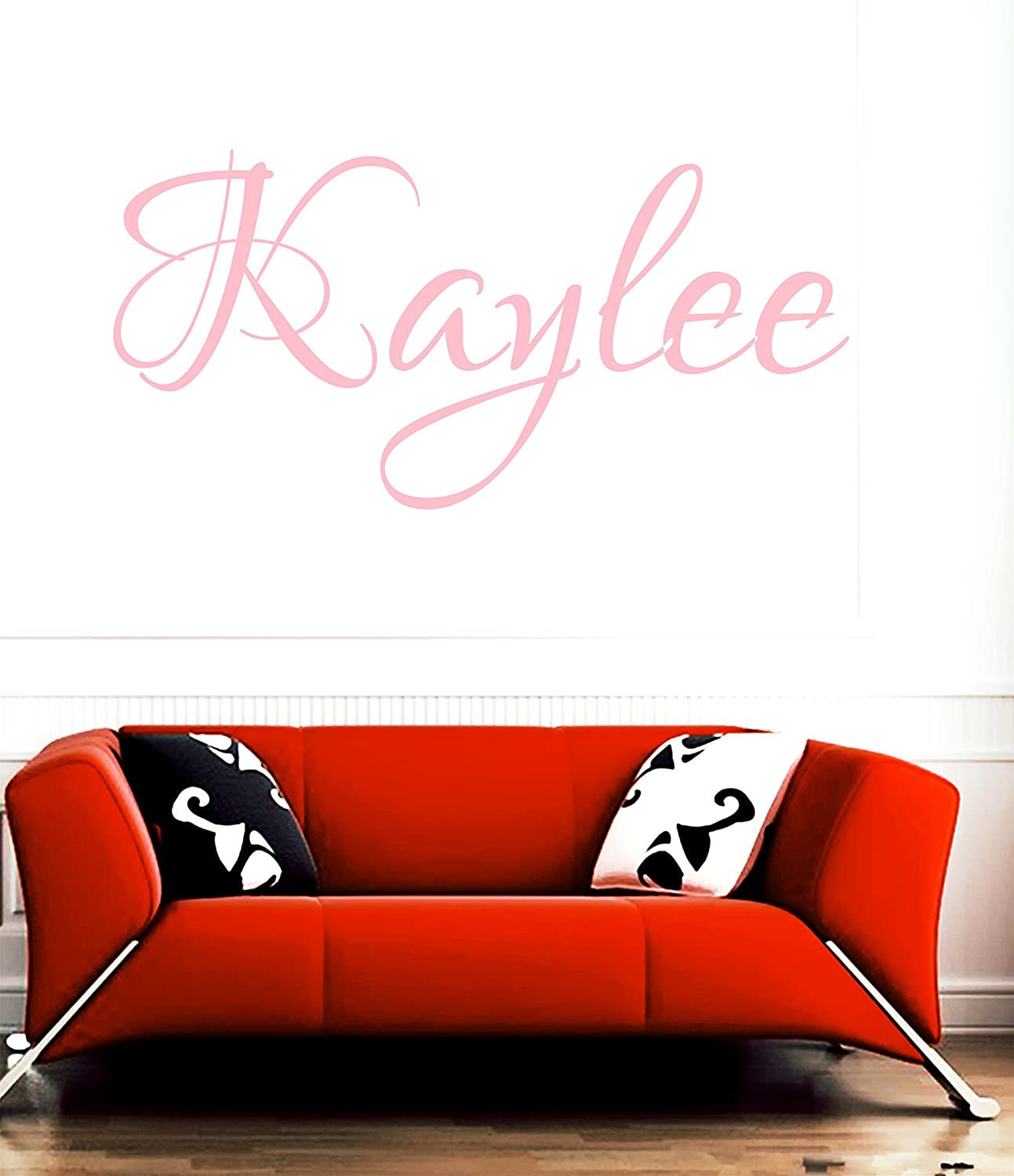 Amazon com huanyi kaylee pink girl name room kids name room wall sticker quote art vinyl decal home kitchen
