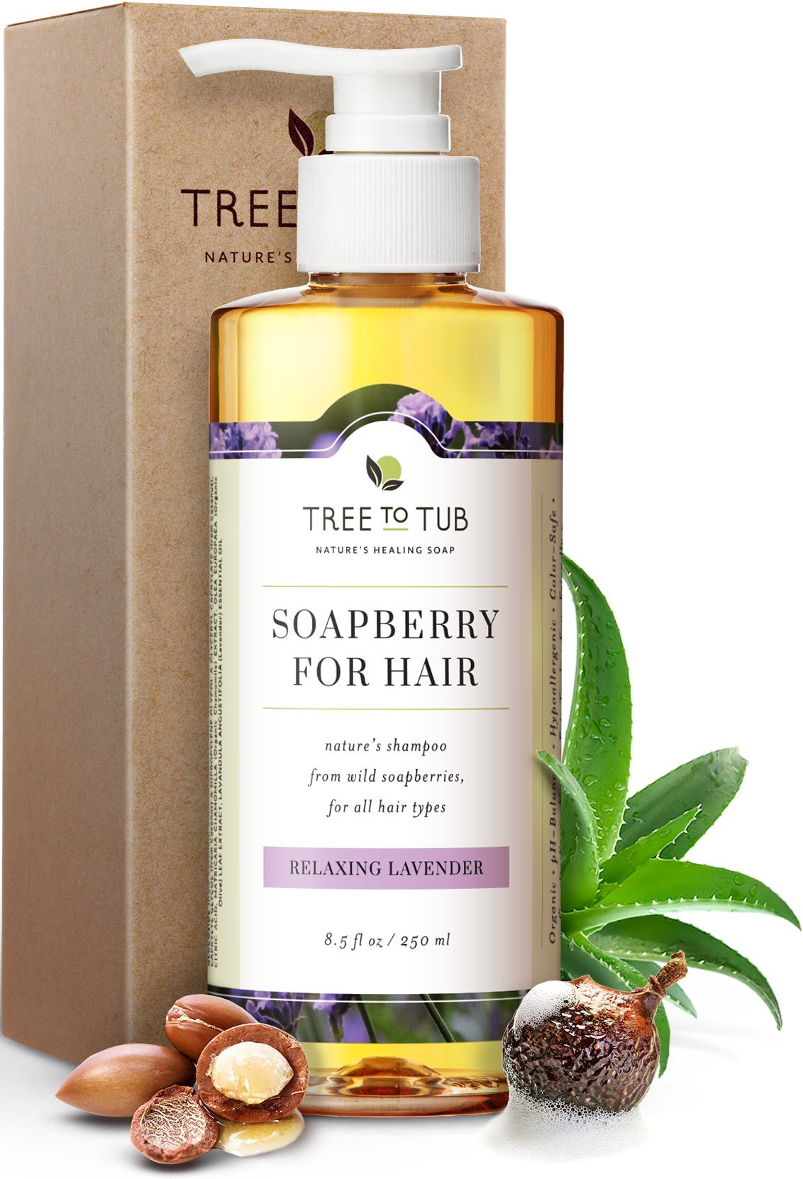 Real, Argan Oil Shampoo For Dry Hair and Scalp, by Tree To Tub. The Only pH 5.5 Balanced Dandruff Shampoo For Itchy and Sensitive Skin, with Lavender Essential Oil and Organic Wild Soapberries, 8.5 oz