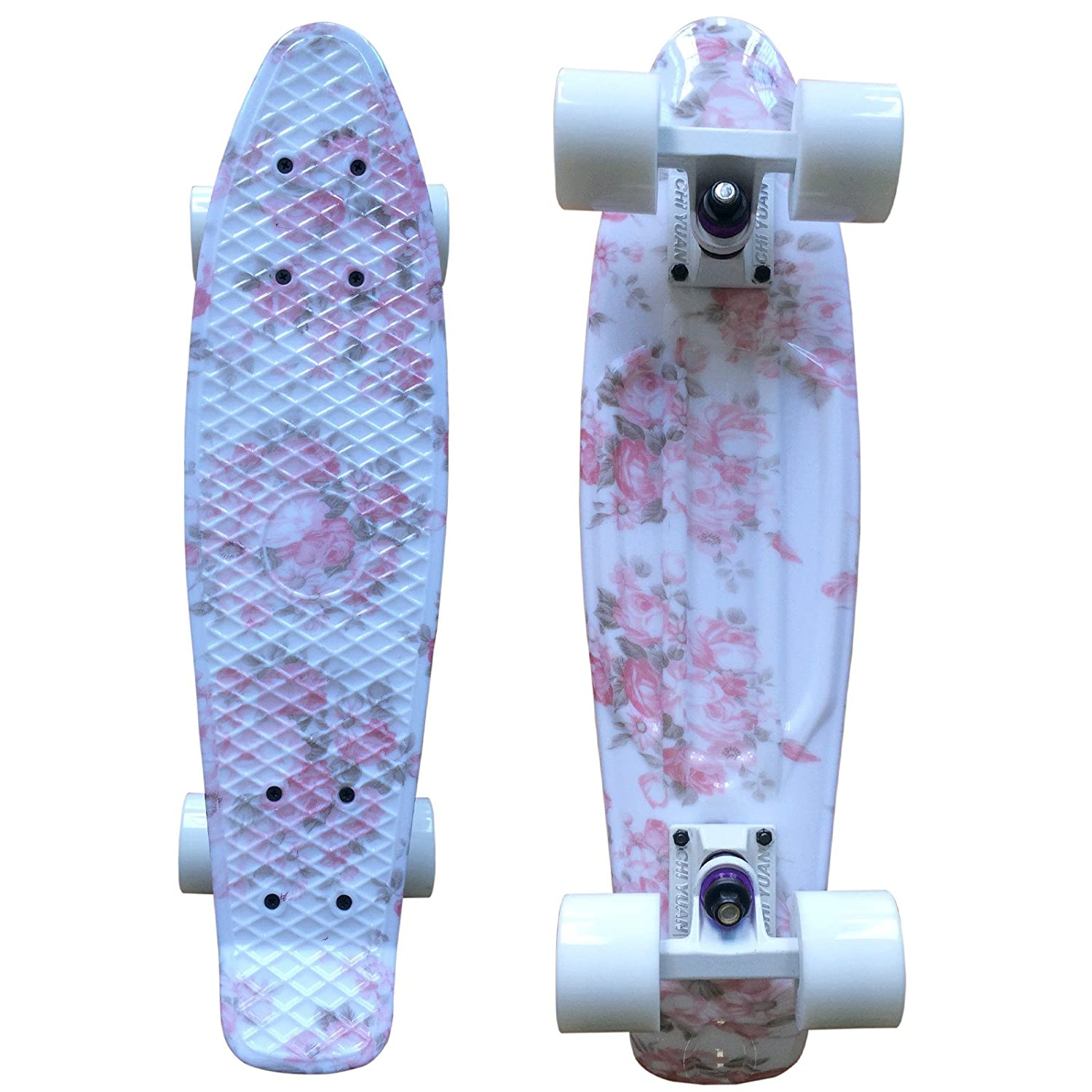 CHI YUAN Boards 22 Inch Plastic Skateboard Urban Cruiser Complete Pink Floral Graphic Print