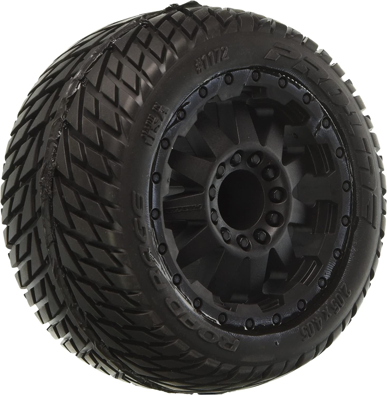 "4 Pro-Line 1172-14 1//10 Road Rage 2.8/"" All Terrain Tires Mounted Black Wheels"