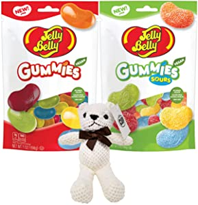 Jelly Belly Gummies Variety, Assorted Gummies and Assorted Sour Gummies, 7 oz Bags (Pack of 2) with By The Cup Teddy Bear