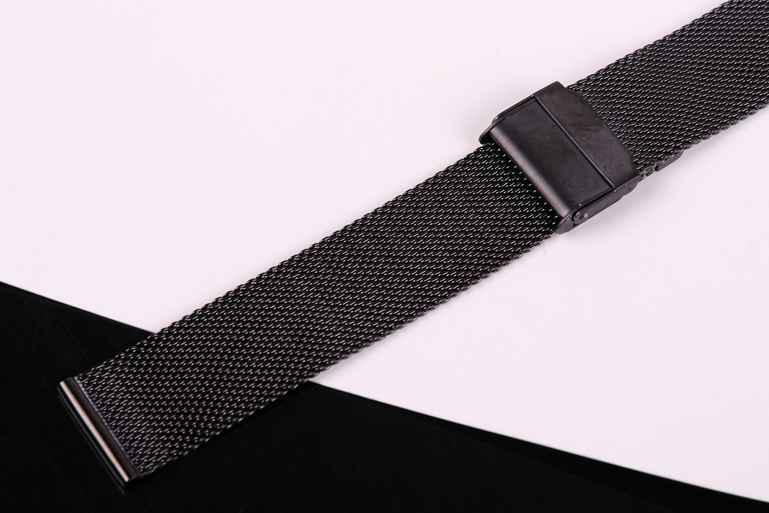 20mm Stainless Steel Mesh Watch Band Black Chainmail Mesh Strap Replacement for Business Sport Watches by autulet (Image #3)