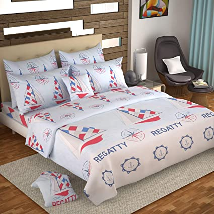 b6901128aaa Ahmedabad Cotton Contemporary Comfort 160 TC Cotton Double Bedsheet with 2  Pillow Covers - Multicolour  Amazon.in  Home   Kitchen