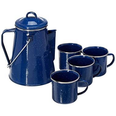 B&E Home Essential 5 Pieces Set Enamelware Percolator with 4 Cups