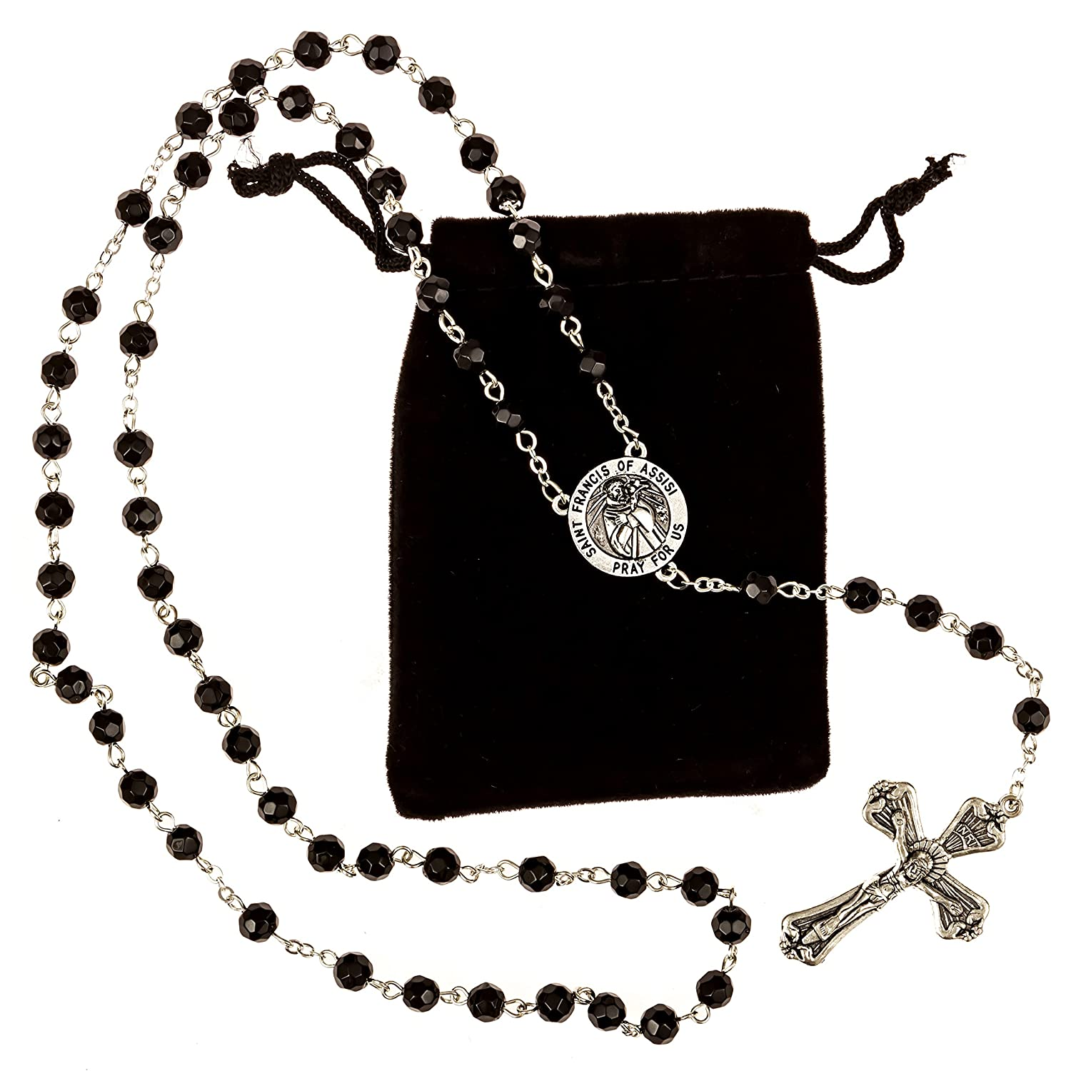 amazon com st francis of assisi rosary beads includes a velvet