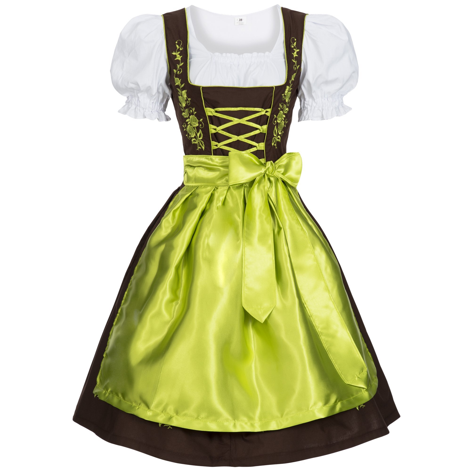 Gaudi-leathers Women's Set-3 Dirndl Pieces Embroidery 38 Brown/Green