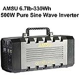 6.7lb 500W(Peak 1000W) Portable Solar Generator (UPS, Power Inverter) - 330Wh Battery - Solar/AC/Car Charging Cable - 2 AC & 4 DC 12V & 4 USB Ports