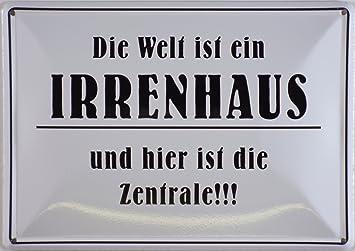 Blechschild 10x15 Cm U0026quot;Die Welt Ist Ein Irrenhausu0026quot; Spruch Sprüche  Sign Blechschilder Schild