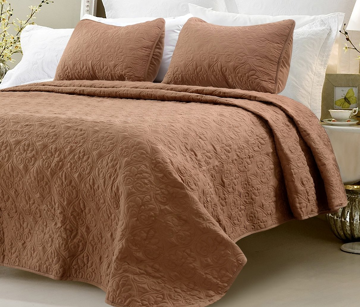 Web Linens Inc Multiple Sizes - Oversized-3pc Quilted Coverlet Set- White -Queen - Exclusively by Blowout Bedding RN# 142035 FBA_3414-Queen