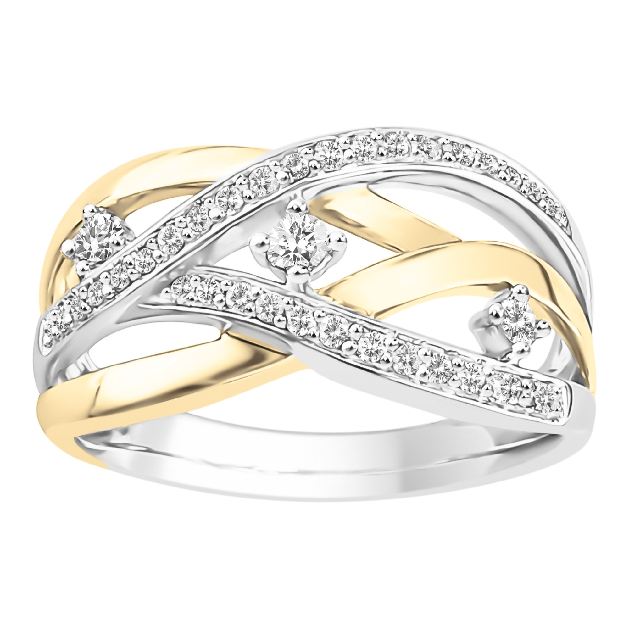 10K White & Yellow Gold 1/4cttw Diamond Crossover Ring