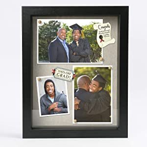 LotFancy Black Shadow Box, Wood Picture Frame 8.5x11, Deep Shadow Box Display Case for Graduation, Wedding, Bouquet, Soft Linen Backboard and Shatter Resistant Glass for Tabletop