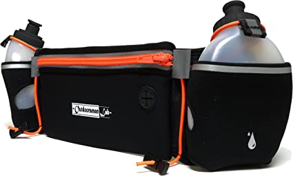 Hydration Running Belt with 2 10oz Free Water Bottles with Pouch for Phone