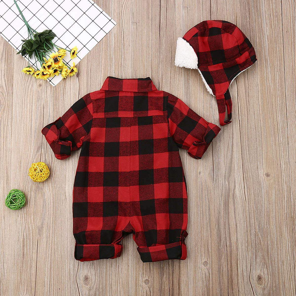 Unisex Infant Baby Clothes Boy Girl Plaid Overalls Jumpsuit Earflap Winter Hat Cap