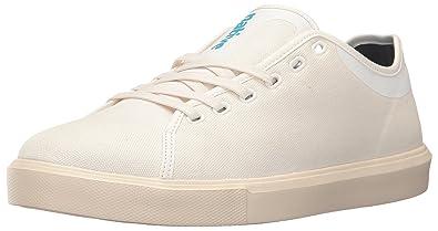 native Men's Monaco Low Wax Canvas Fashion Sneaker, Shell White Wax/Bone  White,