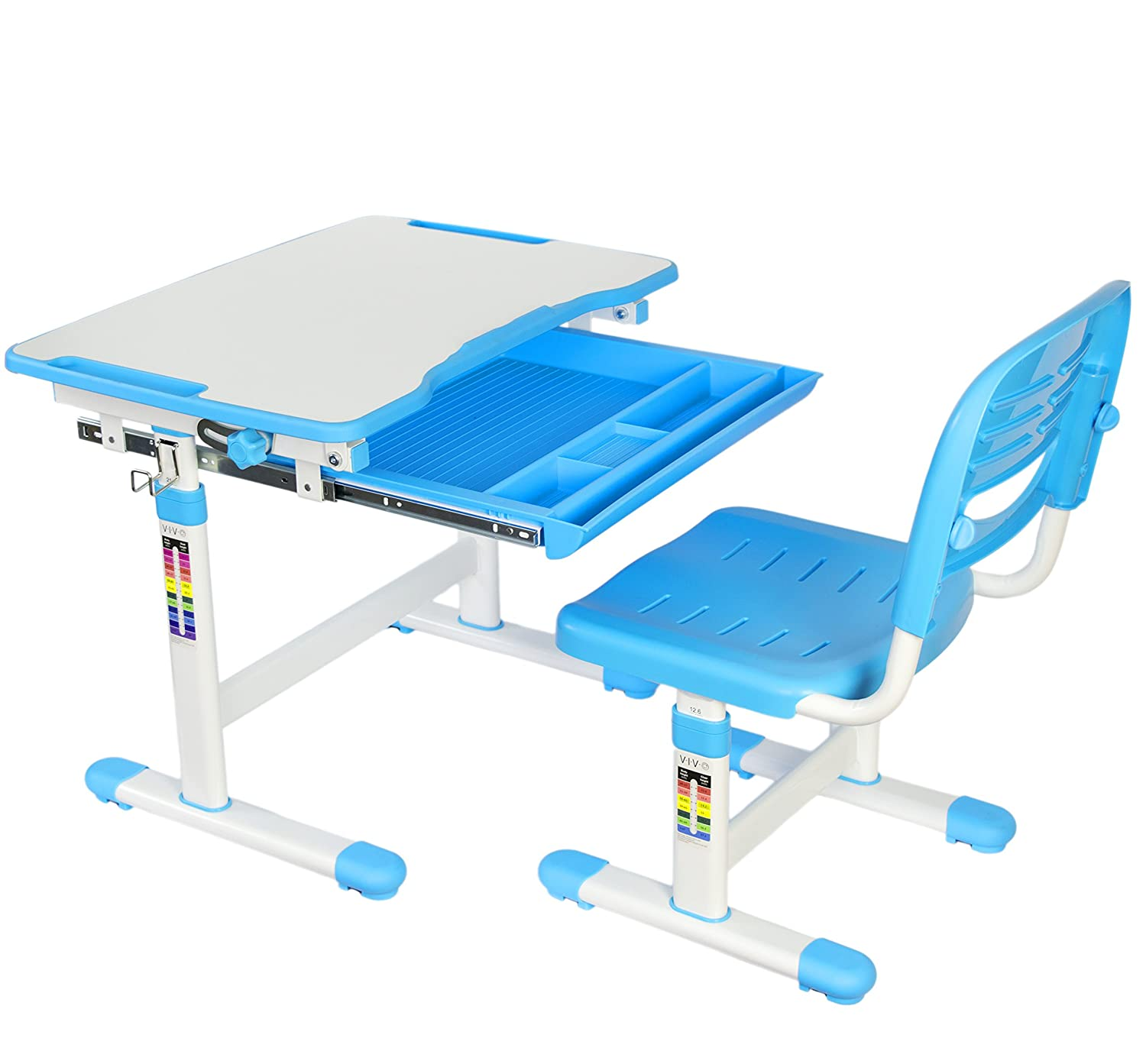 Charmant Amazon.com: VIVO Height Adjustable Childrenu0027s Desk And Chair Set, Blue:  Kitchen U0026 Dining