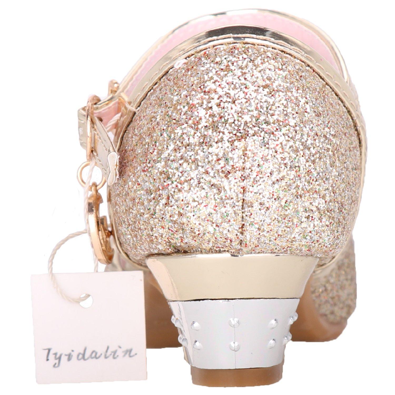 Tyidalin Sandales Ceremonie Fille Chaussure /à Talon Enfant Ballerine Princesse Paillettes pour Mariage D/éguisement