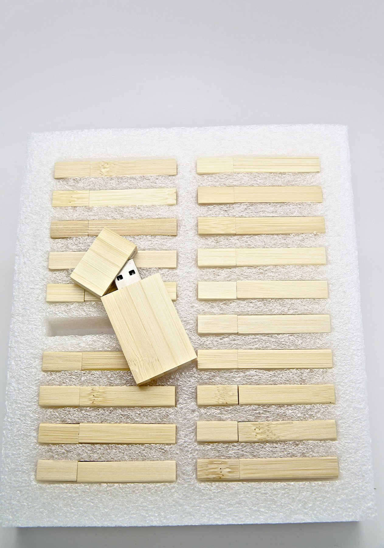 20 4GB Flash Drive - Bulk Pack - USB 2.0 Wooden Bamboo Stick Design - 4 GB Flash Drive by SameDayFlash