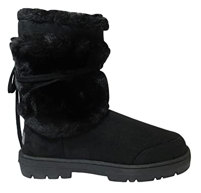 97423ed46 Sky Walker df Womens Ladies Girls Ella Flat Boots Faux Suede Faux Fur  Sheadling Style Mid Calf Snow