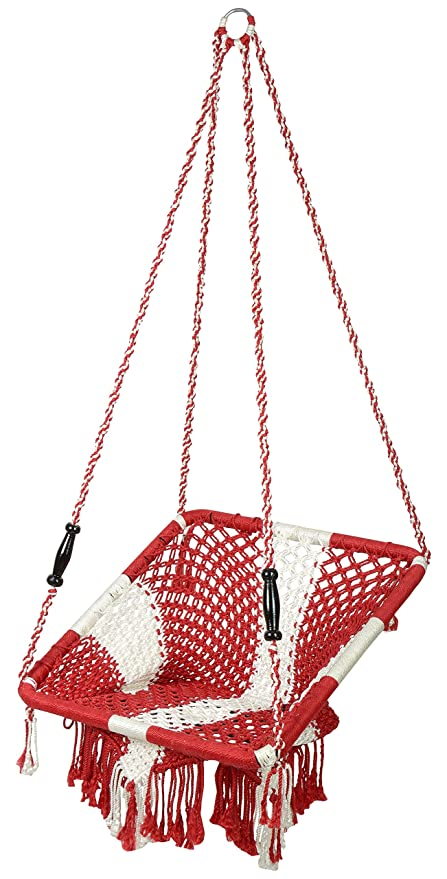 House of Jula Swing Chair (Red and White)