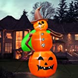 Halloween Inflatable Witch Pumpkin, 8FT Halloween Outdoor Decorations Inflatable LED Lights Tethers Stakes, Blow Up…