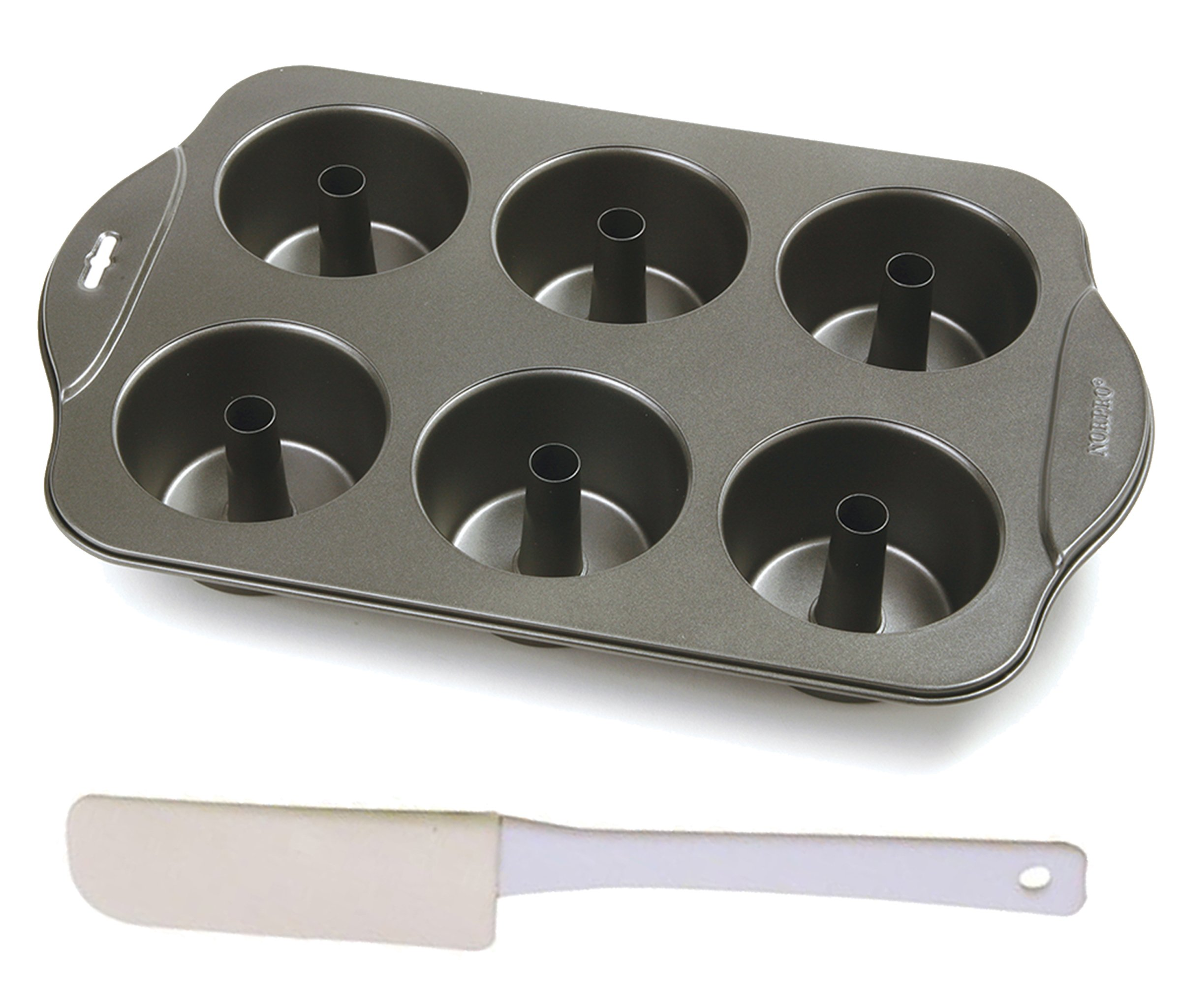 Mozlly Value Pack - Norpro Nonstick 6 Cup Mini Angel Food Bundt Cake Pan - 17 x 11 x 2.25 inch AND White Mini Rubber Spatula - 6 inch (2 Items)