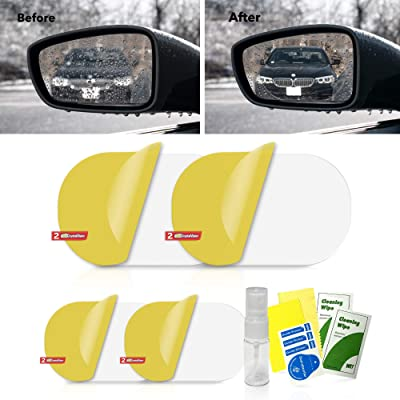 HD Crystal Vision Hydrophilic Mirror Protector Kit: Anti Fog, Water, Glare Film for Car Side View Mirrors. Anti-Glare, Anti-Scratch, Waterproof Protective Nano Shield Stickers for All Vehicles: Automotive [5Bkhe0101366]