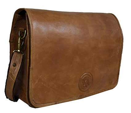 ddb3736559331 Image Unavailable. Image not available for. Color  Adwaita Handmade 16 inch  Vintage Full Grain Cow Leather Laptop Bag Full Flap ...