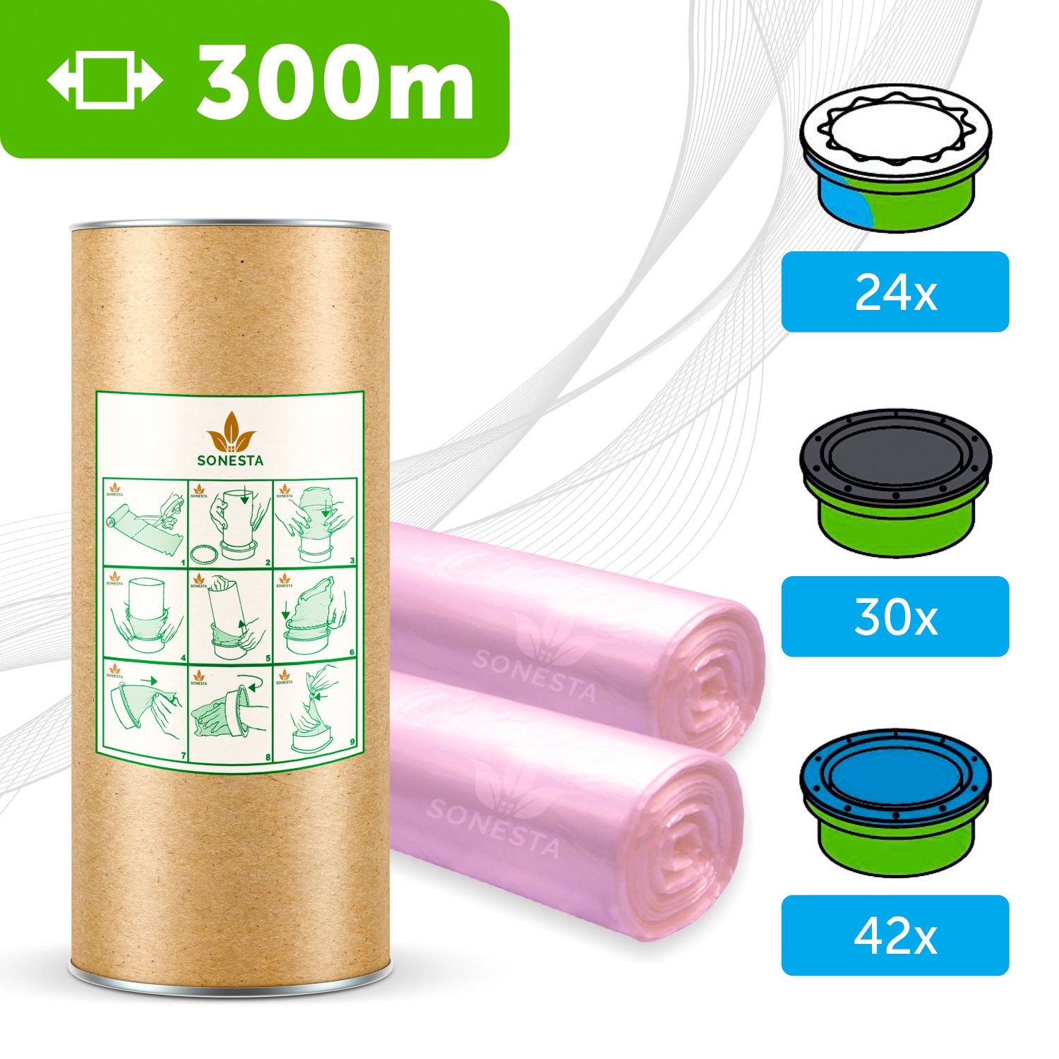 300m - ECO FRIENDLY liner compatible with Tommee Tippee Sangenic | Angelcare | Litter Locker II | Equivalent to 24 Sangenic fits all tubs + cardboard roll for easy refilling and storage SONESTA