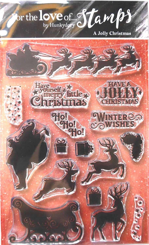 Hunkydory Clear Stamp Set Twilight A Jolly Christmas Reindeer Santa Sleigh FTLS316