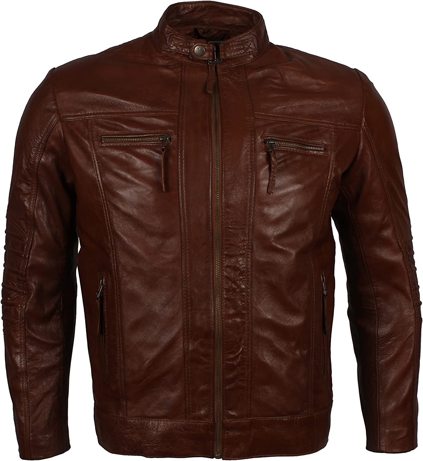 Herts Leather Mens Brown Waxed Persona Defining Real Leather Jacket