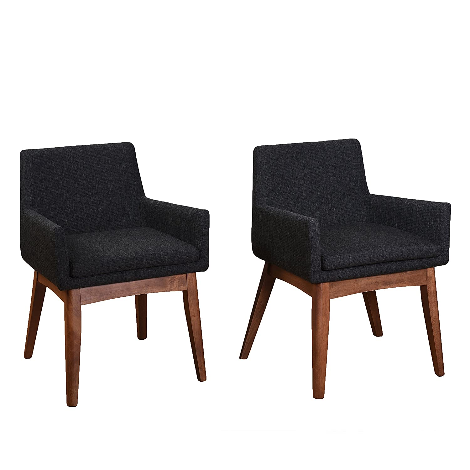 Midtown Concept Liquorice Textile Tiffany Mid-Century 2 Piece Living Room Dining Chair Set