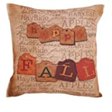 "Createforlife New Home Decorative Cotton Linen Square Happy Fall Vintage Letters Printed Pillow Case Cushion Cover 18"" (Standard, anlan-F0265)"