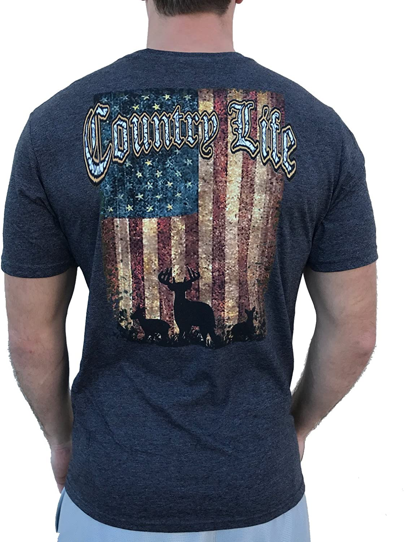 Country Life Deer American Flag Men's Short Sleeve Shirt