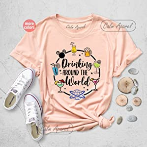 Drinking Around the World T-shirt, Food and Wine Festival Outfits, Traveler Gift Tees