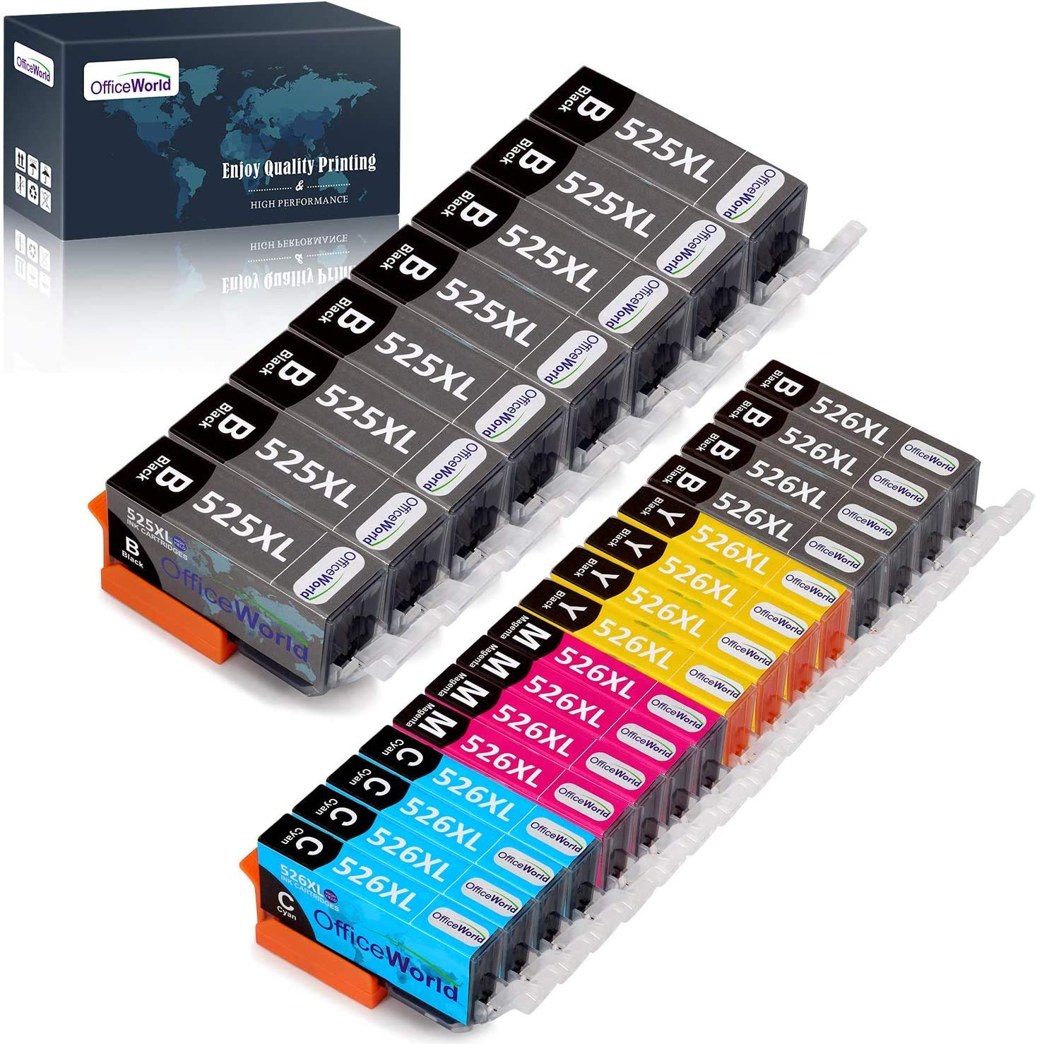 OfficeWorld Replacement for Canon PGI-525 CLI-526 Ink Cartridges PGI-525 XL CLI-526XL Compatible for Canon MG6150 MG6250 MG5350 MG5150 iX6550 MG5250 iP4850 iP4950 MG8150 MG8250 MX885 MX895 MX715