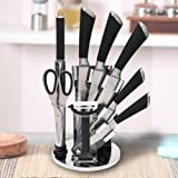Kurtzy 8 Piece Professional Kitchen Knife Set Acrylic Rotating Holder Precision Sharp Chef Knives