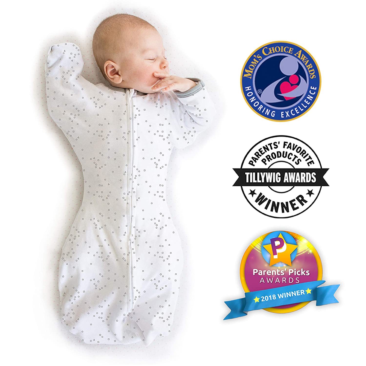 Small 0-3 Months Sterling Parents/' Picks Award Winner Amazing Baby Transitional Swaddle Sack with Arms Up Mitten Cuffs Confetti