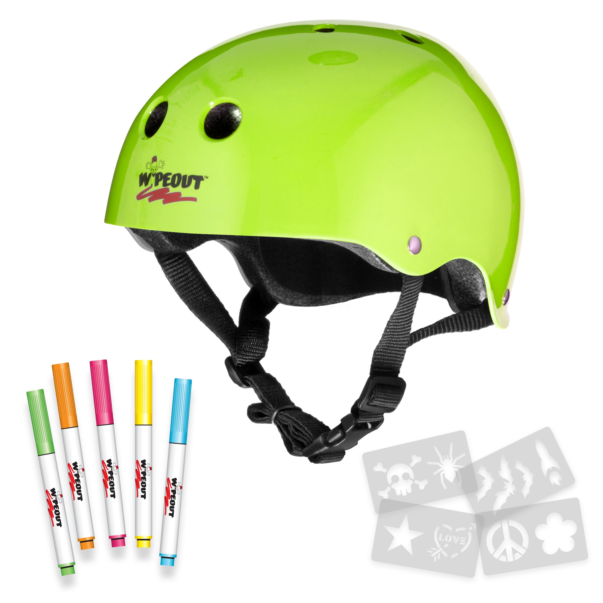 Wipeout Dry Erase Kids' Bike, Skate, and Scooter Helmet, Neon Zest, Ages 5+