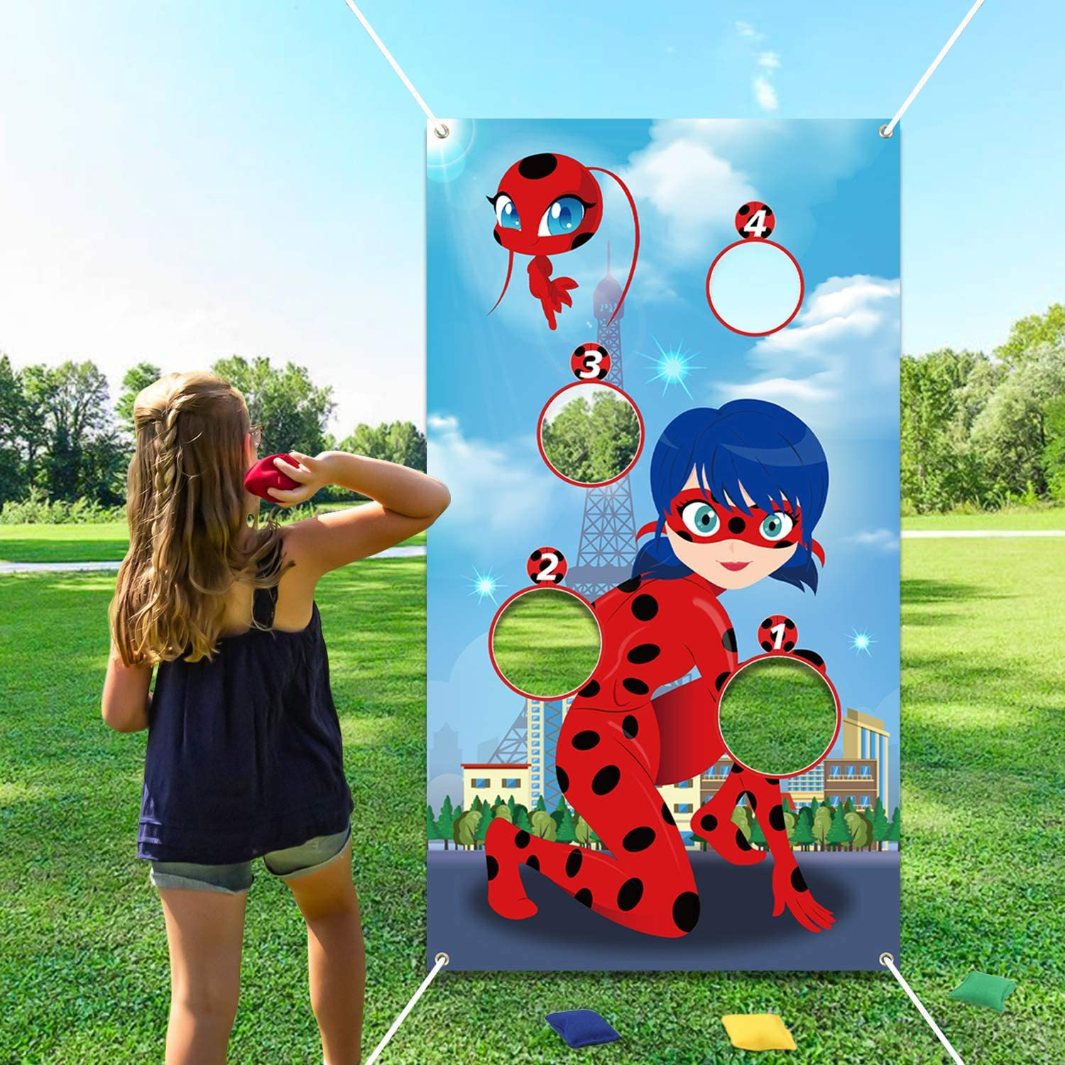 Ladybug Themed Party Decoration Supplies for Girls PANTIDE Ladybug Toss Games with 4 Bean Bags Ladybug Birthday Indoor Outdoor Party Games Great Throwing Games for Kids and Adults