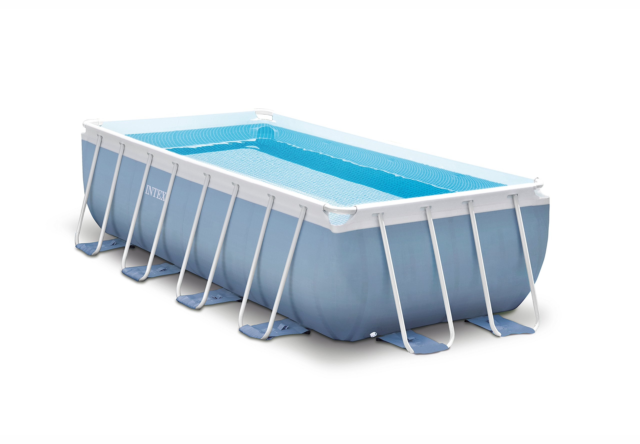 Intex 16ft X 8ft X 42in Rectangular Prism Frame Pool Set with Filter Pump, Ladder, Ground Cloth & Pool Cover