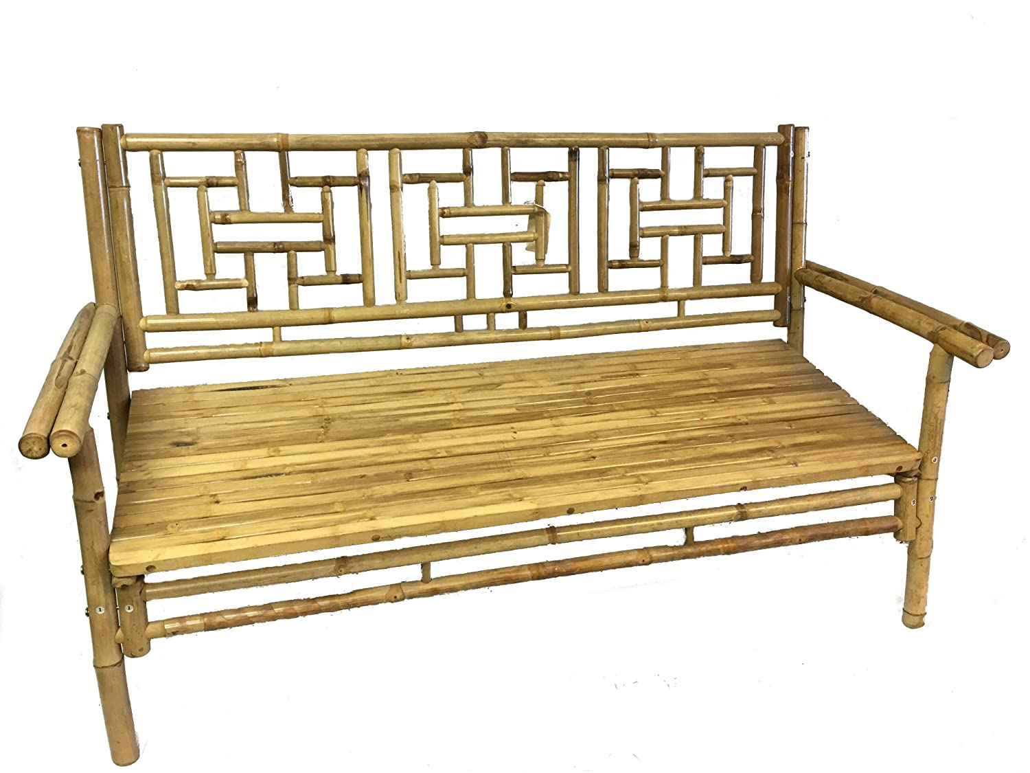 Fine Amazon Com Standard Natural Bamboo Bench With Grid Design Gmtry Best Dining Table And Chair Ideas Images Gmtryco