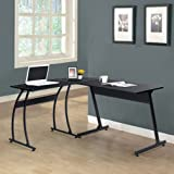 Black Finish Metal Wood L-Shape Corner Computer Desk PC Laptop Table Workstation Home Office