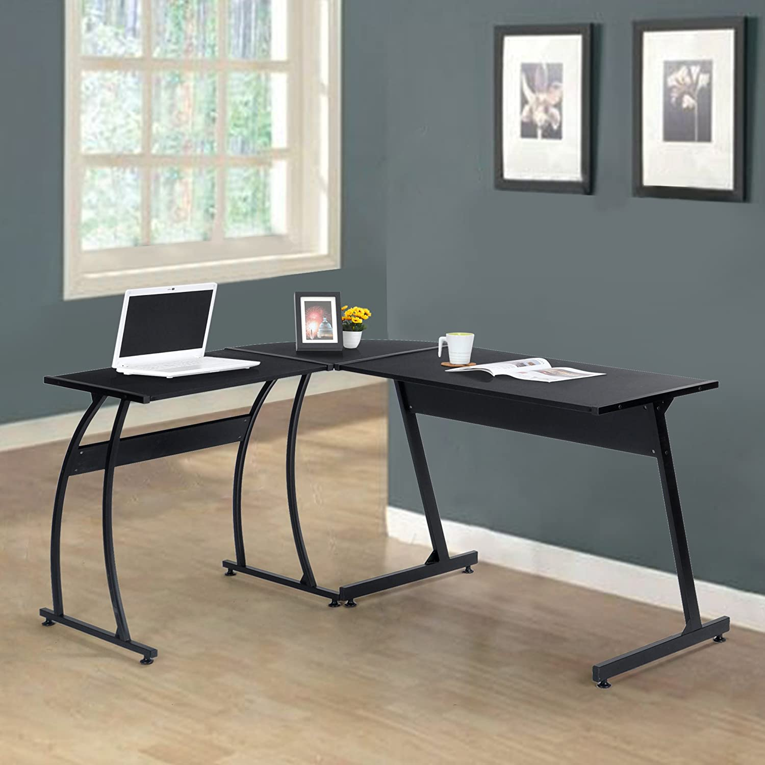 amazoncom black finish metal wood lshape corner computer desk pc laptop table workstation home office kitchen u0026 dining