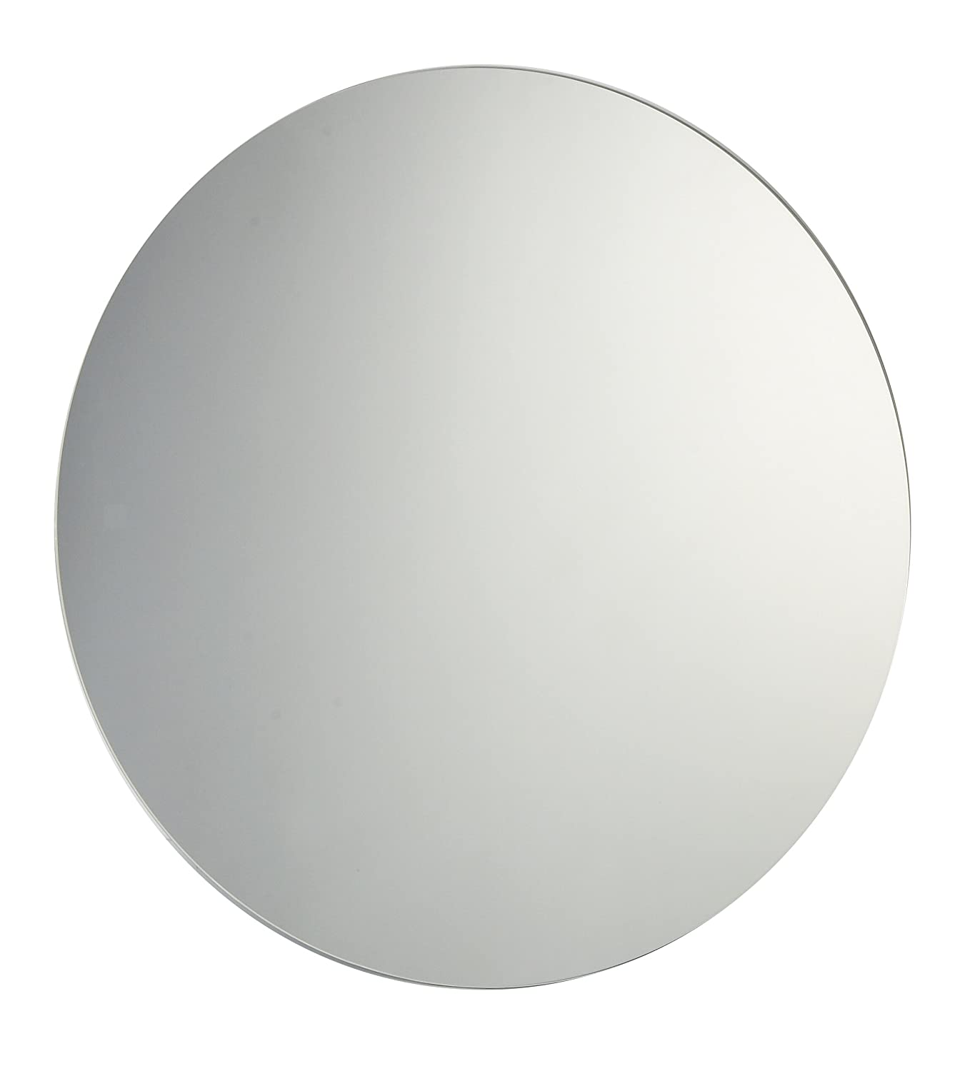 60cm diameter plain frameless circular bathroom mirror with chrome effect metal spring loaded wall hanging fixing