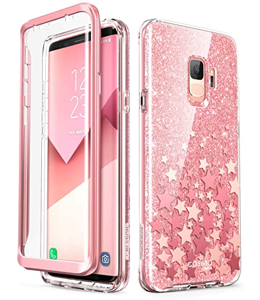 newest 41d71 95777 i-Blason Cosmo Series Designed for Galaxy S9 Case, Full-Body Glitter Bumper  Protective Case with Built-in Screen Protector for Samsung Galaxy S9 2018  ...