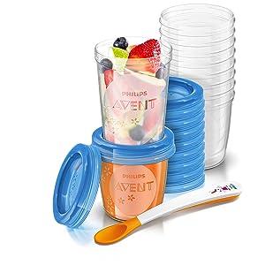 Philips SCF721/20 Avent - Juego de recipientes para comida de bebé (con tapa, incluye 10 recipientes de 180 ml y 10 recipientes 240 ml)